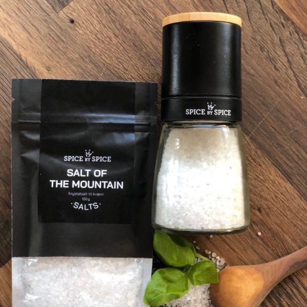 Keramisk kværn med salt of the mountain med tilhørende refill pose