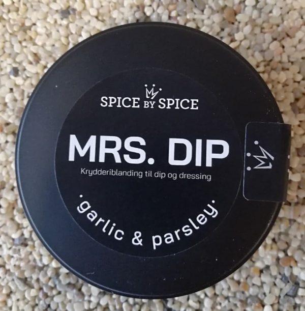 Dip til chips og grøntsager. De er emballeret i en sort plastik bøtte i nordisk design. Lækker krydderipulver blanding som smager af persille og hvidløg.