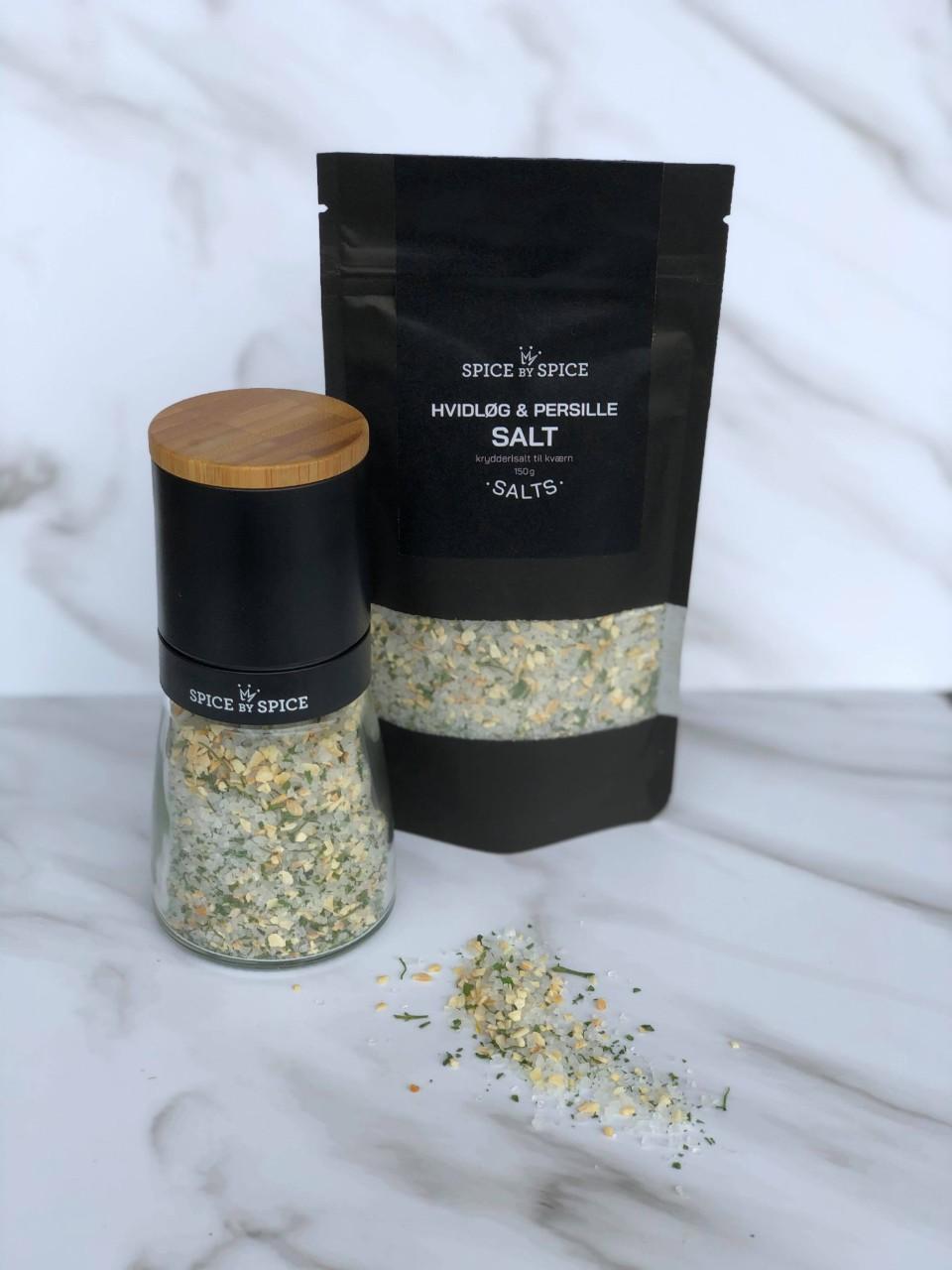 hvidlog og persille salt med refill pose